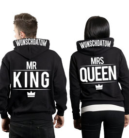 "2 x Hoodies ""Mr. King & Mrs. Queen"" + Wunschtext"