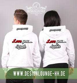 "2x Kapuzenpullover mit ""Love you Wunschname"""