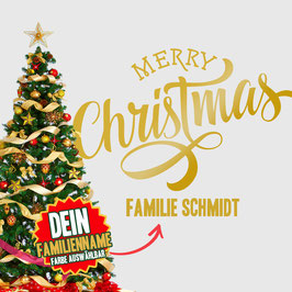 """WANDTATTOO CHRISTMAS """"5"""" MIT + FAMILIENNAME"""