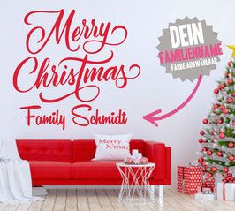 """WANDTATTOO CHRISTMAS """"1"""" MIT + FAMILIENNAME"""