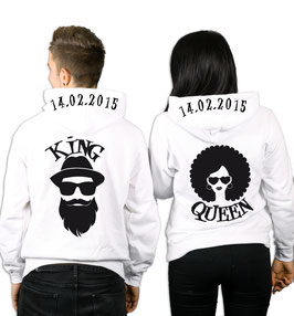"2 x HOODIES ""KING & QUEEN AFRO"" + WUNSCHDATUM"