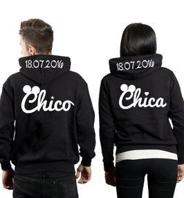 "2 x Kapuzenullover ""Chico & Chica oo"" + Datum"