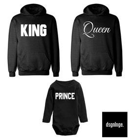 """2 x Hoodie + 1 x Strampler """"King - Queen - Prince"""" SZ."""