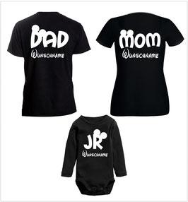 """3´ER FAMILIEN SET MIT """"MOM - DAD - JR."""" oo + WUNSCHNAMEN"""