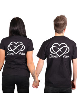 """2 x T-Shirt """"Unendlichkeitsherz"""" +Wunschnamen"""
