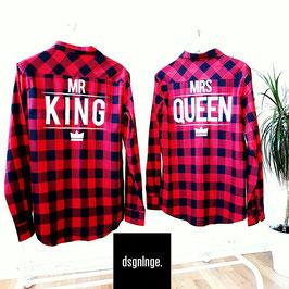 "2 x Hemd Checked Flannel Shirt ""Mr King & Mrs Queen"""