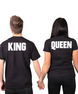 "2 x T-Shirt ""King & Queen"" Sz."