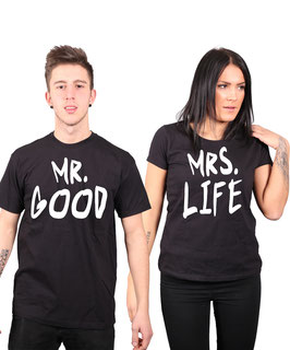 "2 x T-Shirt ""Mr Good & Mrs Life"""