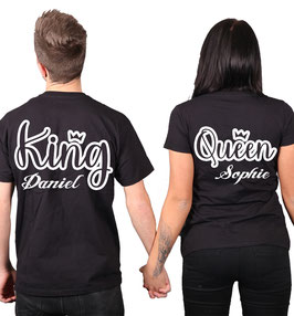 "2 x T-Shirts ""King & Queen Outline"" + Wunschtext"