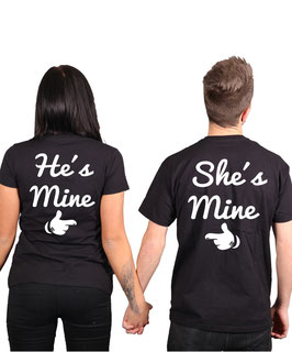 "2 x T-Shirt ""He & She is mine"""