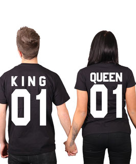 "2 x T-Shirts ""King 01 & Queen 01"" (Doppelpack)"