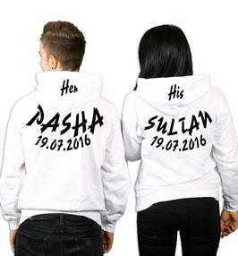 """2 x Kapuzenpullover """"Pasha & Sultan"""" + Datum"""
