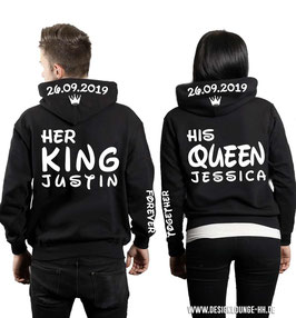 "2 x HOODIES ""HER KING & HIS QUEEN"" CROWN + WUNSCHNAME UND DATUM"