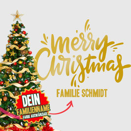 """WANDTATTOO CHRISTMAS """"2"""" MIT + FAMILIENNAME"""