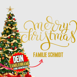 """WANDTATTOO CHRISTMAS """"3"""" MIT + FAMILIENNAME"""