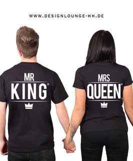 "2 x T-Shirts ""Mr. King & Mrs. Queen"""