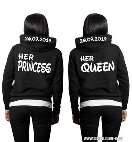 "2 x HOODIES ""HER PRINCESS & HER QUEEN"" + WUNSCHDATUM"