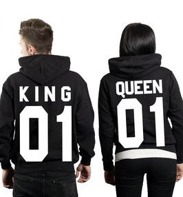 """""""2 x Kapuzenullover mit """"King & Queen"""" 2x Schwarz """"vorne"""""""""""