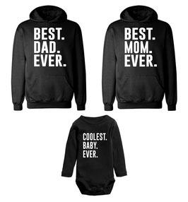"2 x Hoodie + 1 x Strampler ""Best Dad - Best Mom - Coolest"""