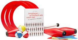 Jonglierset: Jonglierbuch, Bälle, Keulen, Ringe + Tücher