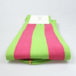 Kniestrümpfe breit gestreift grün/magenta