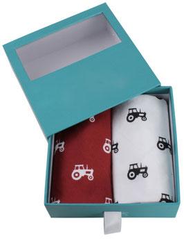 2 Einstecktücher/Taschentücher inkl. Geschenkbox (Traktor rot/weiß)