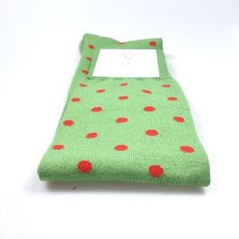 Kniestrümpfe grün/rot gepunktet