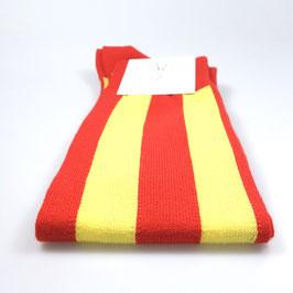Kniestrümpfe breit gestreift rot/gelb