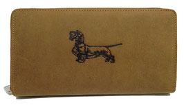 Damengeldbörse aus Leder mit Rauhhaardackelmotiv