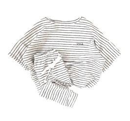 Oversized Unisex Knit Tee I Ecru with Black Stripes I Choose Your Favorite Statement