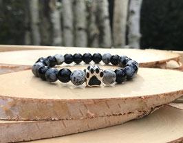 Pfote Armband - Larvikit Obsidian Onyx Jaspis (T20)