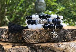 Buddha Ganesha Armband 3er Set - Jade Achat Onyx (Set10)