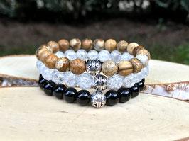 Edelstein Armband Set - Onyx Jaspis Bergkristall (Set59)