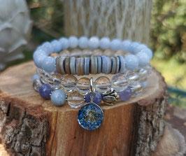 Echte Blüte Lotus Armband Set - Aquamarin Bergkristall Jade Muschel (Set7)