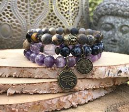 Buddha Om Horusauge Armband Set - Amethyst Jaspis Obsidian Tigerauge (SetB19)