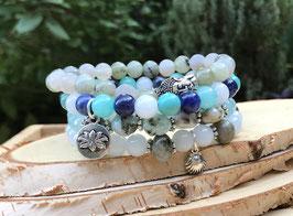 Buddha Muschel Lotus Armband Set - Labradorit Larimar Achat Türkis Sodalith Jade (Set73)