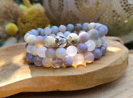 Lotus Armband Set - Achat Mondstein Labradorit Bergkristall (Set3)
