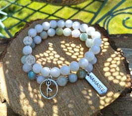 Yoga Namaste Armband Set - Amazonit Bergkristall Jade (Set5)