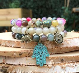 Buddha Hamsa Om Elefant Armband Set - Achat Jade (SetB9)