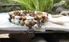 Buddha Om Lotus Armband Set - Jaspis Magnesit (SetB5)