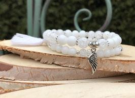 Flügel Armband 2er Set - Jade Bergkristall (Set109)