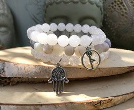 Yoga Hamsa Armband Set - Bergkristall Mondstein Achat (Set153)