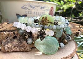 Buddha Lotus Libelle Kleeblatt Armband Set - Jaspis Aventurin Bergkristall Jade (SetB10)
