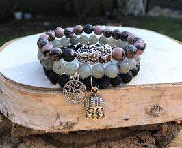 Buddha Lebensbaum Ganesha Armband Set - Labradorit Rhodonit Lavaperlen (Set132)