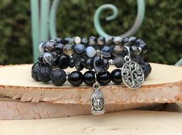 Buddha Lebensbaum 3er Armband Set - Onyx Lavaperlen Achat (Set113)