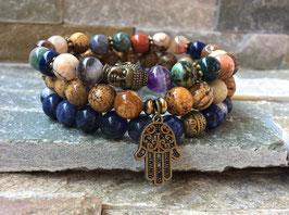 Buddha Hamsa Armband Set - Jaspis Sodalith Edelsteinmix (SetB22)