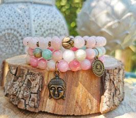 Buddha Om Lotus Armband Set - Amazonit Jade (SetB4)