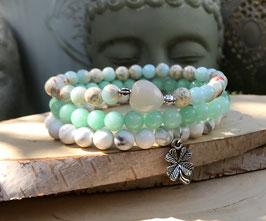 Kleeblatt Mondstein Herz Armband Set - Jaspis Howlith Jade (Set150)