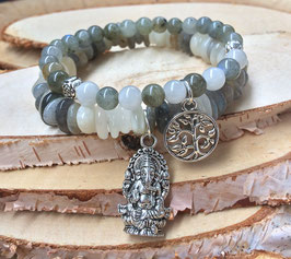 Ganesha Lebensbaum Armband Set - Mondstein Labradorit (Set51)