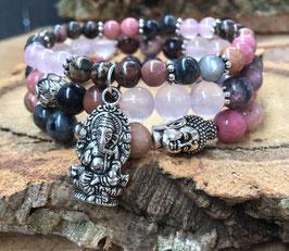 Buddha Lotus Ganesha Armband 3er Set - Rhodonit Larvikit Rosenquarz (Set116)